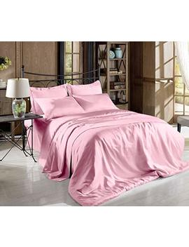 Hight Thread Count Solid Color Soft Silky Charmeuse Satin Luxury And Super Soft Bed Sheet Set (Pink, Twin) by Comfy Deal