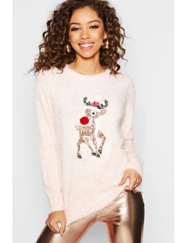 Sequin Reindeer With Pom Pom Detail by Boohoo