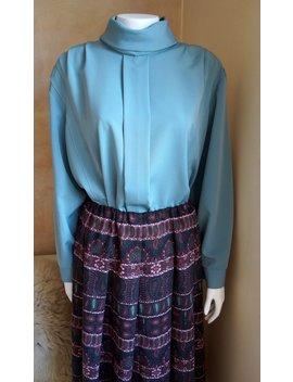 Vintage Blouse Retro Blouse Dress Retro Schawl Blouse Collar Ocean Blue by Etsy