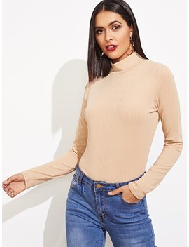 Ribbed Knit High Neck Tee by Shein