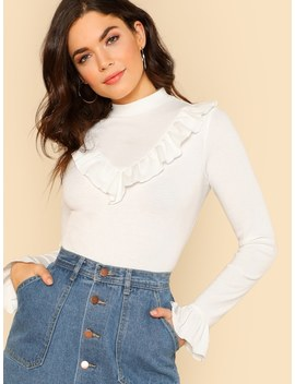 Ribbed Knit Ruffle Trim Tee by Shein