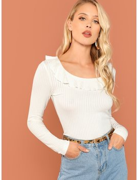 Flounce Foldover Front Rib Knit Tee by Shein