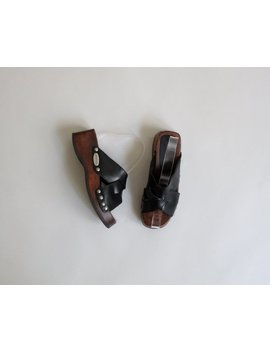 Leather & Wood Sandals / Size 5 by Etsy
