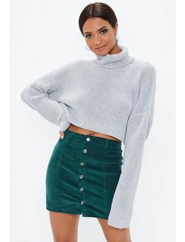 Green Cord Button Through Mini Skirt by Missguided