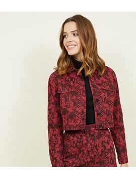 Burgundy Snake Print Cropped Denim Jacket by New Look