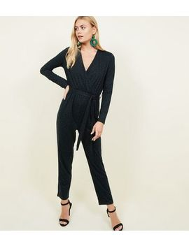 Dark Green Leopard Print Wrap Front Jumpsuit by New Look