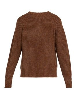 Crew Neck Ribbed Wool Blend Sweater by Lemaire