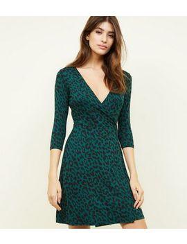 Green Leopard Print Jersey Mini Wrap Dress by New Look