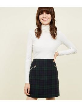 Dark Green Brushed Check Mini Skirt by New Look