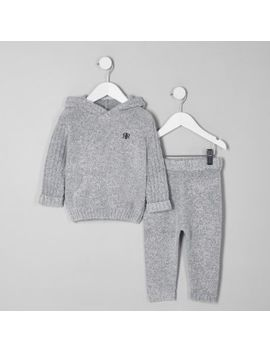 Mini Boys Grey Cosy Hoodie Outfit by River Island