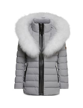 Girls' Mini Matte Lightweight Down Coat With Fur Trim   Little Kid by Mackage