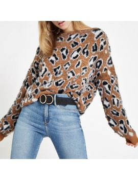 Brown Leopard Print Slash Neck Jumper by River Island