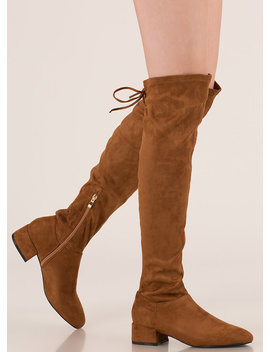 Laced It Block Heel Thigh High Boots by Go Jane
