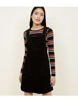 Black Corduroy Square Buckle Pinafore Dress by New Look