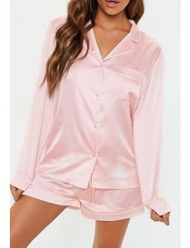 Pink Piping Detail Shorts Pyjama Set by Missguided