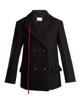 Peak Lapel Double Breasted Wool Coat by Maison Margiela