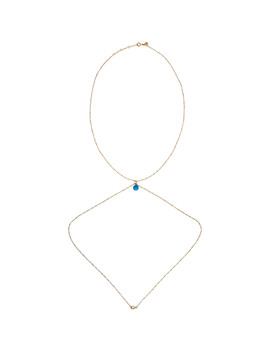 Gold & Blue 'la Perle Bleue' Body Chain Necklace by Jacquemus