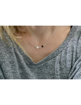 Star Charm Necklace With Obsidian Stone | Small Charm And Black Gemstone | Minimal Gold Filled Or Sterling Silver Jewellery Present by Etsy