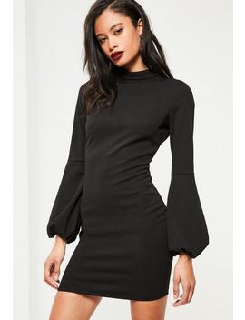 Black High Neck Puff Sleeve Bodycon Dress by Missguided