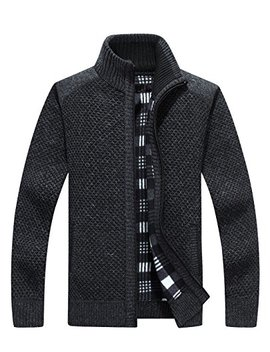 Vcansion Men's Classic Long Sleeve Full Zip Up Fleece Knitted Cardigan Sweaters by Vcansion
