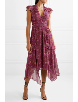 Ressie Ruffled Shirred Floral Print Silk Georgette Midi Dress by Ulla Johnson