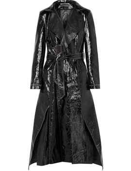 Marvin Crinkled Leather Trench Coat by Roland Mouret
