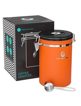 Coffee Gator Stainless Steel Container   Canister With Co2 Valve, And Scoop   Large, Orange by Coffee Gator