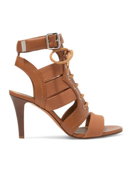 Rylee Cutout Leather And Canvas Sandals by Chloé