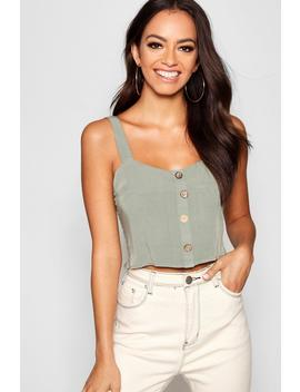 Square Neck Horn Button Crop by Boohoo