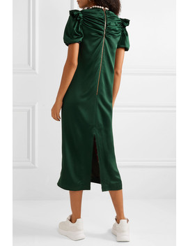 Tilda Faux Pearl Embellished Ruched Satin Crepe Midi Dress by Mother Of Pearl