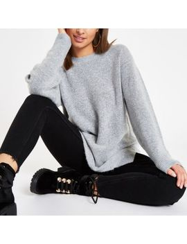 Grey Split Side Crew Neck Jumper by River Island
