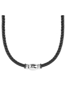 Men's West Coast Jewelry Stainless Steel Beaded Black Braided Leather Necklace by Crucible
