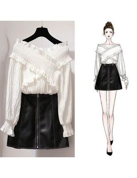 Hopp   Set: Long Sleeve Frill Trim Top + A Line Mini Skirt by Hopp