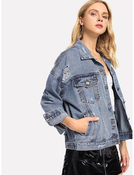 Drop Shoulder Bleach Wash Denim Jacket by Sheinside