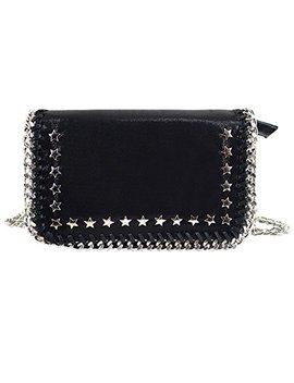 Felice Womens Girl Flap Chain Paillette Handbag Messenger Purse Metallic Star Rivets Crossbody Shoulder Bag by Felice