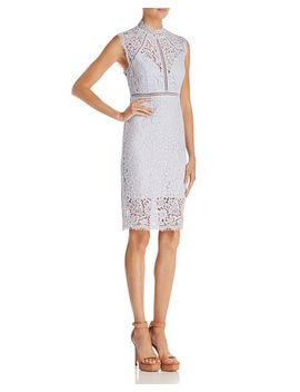 Sheer Detail Lace Dress by Bardot