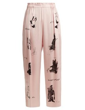 Dog Print Wide Leg Silk Satin Trousers by Claire Barrow