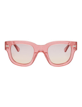 Pink Glitter Frame Acetate Sunglasses by Acne Studios