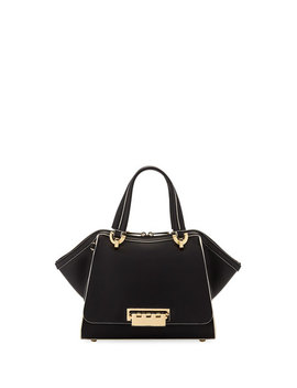 Eartha Small Leather Double Handle Satchel Bag by Zac Zac Posen
