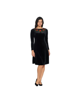 Quacker Factory Floral Embroidered Knit Velvet Dress by Qvc