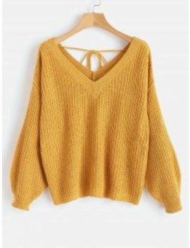 V Neck Drop Shoulder Oversized Sweater   Orange Gold S by Zaful