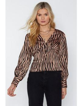 Tiger Print Button Front Blouse by Nasty Gal