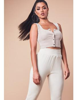 Sand Ribbed Sleeveless Popper Front Crop Top by Missguided