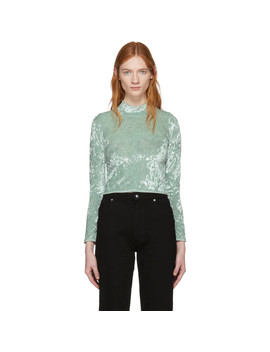 Green Velvet Lapped Baby Turtleneck by Eckhaus Latta