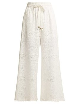 Castile Cotton And Silk Blend Trousers by Zimmermann
