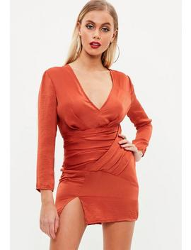 Petite Orange Slinky Panelled Dress by Missguided