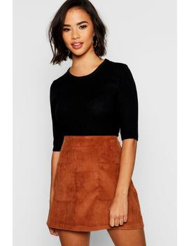 Baby Cord Pocket Front Mini Skirt by Boohoo