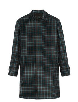 Single Breasted Check Wool Overcoat by Prada