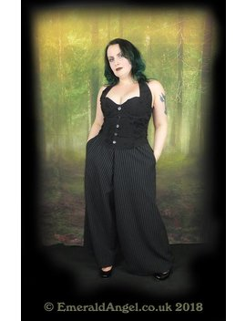 Pinstripe Wide Leg Trousers, Corporate Gothic, Nugoth, Custom Size, Gender Free. by Etsy