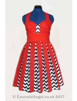 Twin Peaks Chevrons And Red Inspired Dress, Sample Sale   Size 12 14 Uk by Etsy